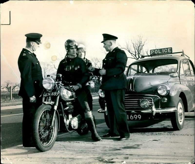 cops and bikes in the UK 1960s